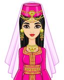 Portrait of the animation Arab princess in  ancient suit. Royalty Free Stock Photography
