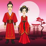 Portrait of an animation Chinese family in traditional clothes. Stock Image