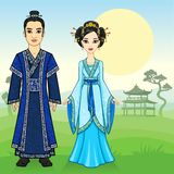 Portrait of an animation Chinese family in traditional clothes. stock illustration