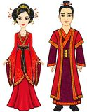 Portrait of an animation Chinese family in traditional clothes. Full growth.  Royalty Free Stock Photography