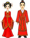 Portrait of an animation Chinese family in traditional clothes. Full growth. Stock Photography
