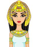 Portrait of the animation Egyptian princess in gold jewelry. Goddess Isida. The vector illustration isolated on a white background Stock Photo