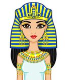 Portrait of the animation Egyptian princess in gold jewelry. Queen Cleopatra. Royalty Free Stock Photos