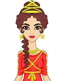 Portrait of the animation woman in  ancient  dress. Stylization Ancient Greece, Ancient Rome.  Vector illustration isolated on a white background Royalty Free Stock Photography