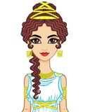 Portrait of the animation woman in  ancient  dress. Stylization Ancient Greece, Ancient Rome.  Vector illustration  on a white background Stock Image
