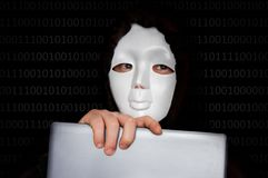 Portrait of anonymous man with white mask isolated on black. Background royalty free stock photos