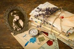 Portrait antique et vieilles lettres Photo libre de droits