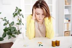 Woman Suffering from Headache stock photo