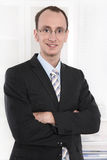 Portrait for application - smiling businessman with glasses Royalty Free Stock Photography
