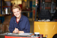 Portrait Of Apprentice Engineer In Factory. Looking At Camera Smiling stock images