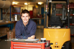 Portrait Of Apprentice Engineer In Factory Stock Images