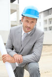 Portrait of architect on construction site Royalty Free Stock Photo