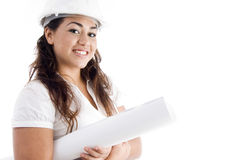 Portrait of architect with helmet and hardhat Stock Image