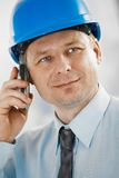 Portrait of architect with mobile Stock Photo