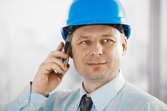 Portrait of architect with mobile Stock Photography