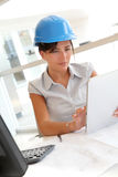 Portrait of architect with security helmet on Stock Photos
