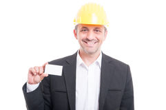 Portrait of architect showing blank business card Royalty Free Stock Photo