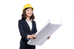 Portrait of architect student woman with blueprints protect wear. Ing helmet Stock Images