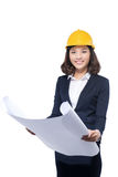 Portrait of architect student woman with blueprints protect wear Stock Images