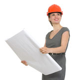 Portrait of architect woman with flipchart Stock Image
