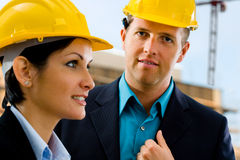 Portrait of architects at construction site stock photos