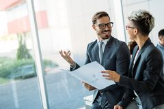 Portrait of architects having discussion in office Royalty Free Stock Photo