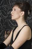 Portrait of aristocratic lady in an evening dress Stock Photography