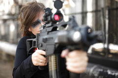 Portrait of an armed woman Royalty Free Stock Photo