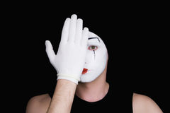Portrait of artful peeping mime Royalty Free Stock Photo