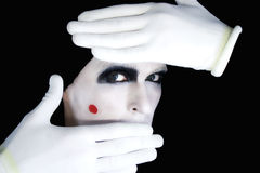 Portrait of artful peeping mime Stock Photography