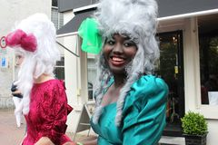 Medieval dressed artists at the yearly Street Festival,Leeuwarden, Netherlands Stock Photo