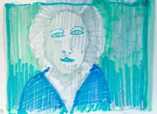 Hand drawn female portrait Image. Portrait Artwork done by using felt tip pen marker with alcohol baesd ink. Green and blue or blueish colores combined with grey Stock Photos