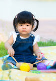 Portrait of asia children. Portrait of cute asia children playing in the garden stock image