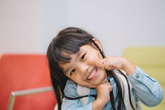 Portrait asia children feeling happy stock image