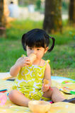 Portrait of asia children playing in the garden Royalty Free Stock Photo