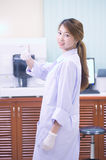 Portrait of asia friendly Scientist smiling giving thumbs up Royalty Free Stock Photos