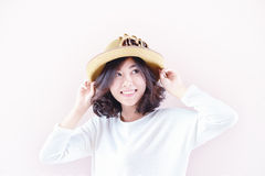 Portrait of asia young sexy woman with hat Royalty Free Stock Photography