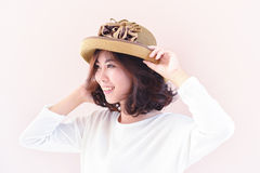Portrait of asia young sexy woman with hat Stock Photo