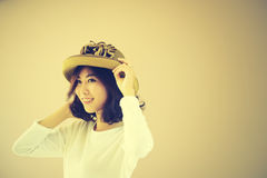 Portrait of asia young sexy woman with hat Royalty Free Stock Photo