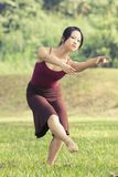 Portrait of asian ballet dancer outdoor Stock Images