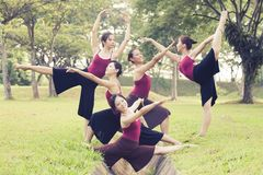 Portrait of asian ballet dancers outdoor Stock Photo