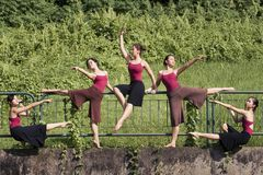 Portrait of asian ballet dancers outdoor Royalty Free Stock Photos