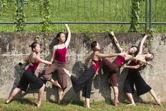 Portrait of asian ballet dancers outdoor Royalty Free Stock Images