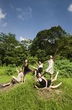 Portrait of asian ballet dancers outdoor Royalty Free Stock Photo