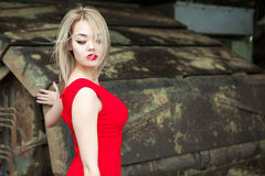Portrait of Asian blonde outdoors Royalty Free Stock Photography