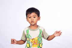 Portrait of asian boy happy and fun Royalty Free Stock Image