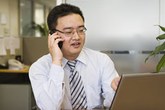 Portrait of asian business executive. Asian business executive talking to customer on the phone while looking at computer screen Royalty Free Stock Photography