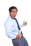 Portrait of asian business man enjoying success, get winning bon Stock Photography