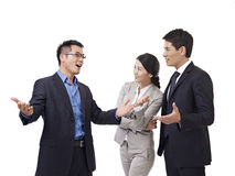 Portrait of asian business team. Asian business people talking, isolated on white Stock Photo