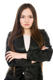 Portrait of asian business woman in black jacket. Stock Photography